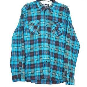 Sovereign Code XXL Blue Plaid Button Front Shirt